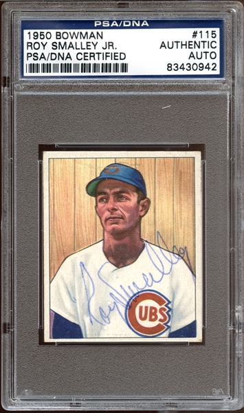 1950 Bowman #115 Roy Smalley Jr. Autographed PSA/DNA AUTHENTIC