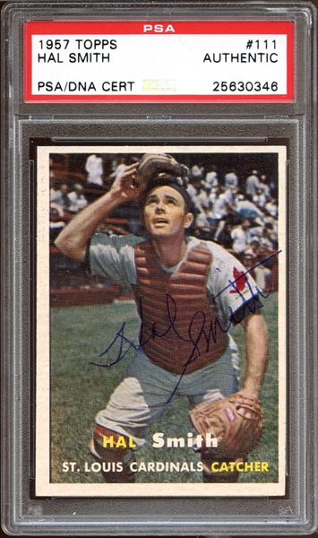 1957 Topps #111 Hal Smith Autographed PSA/DNA AUTHENTIC