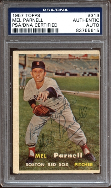 1957 Topps #313 Mel Parnell Autographed PSA/DNA AUTHENTIC