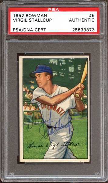 1952 Bowman #6 Virgil Stallcup Autographed PSA/DNA AUTHENTIC