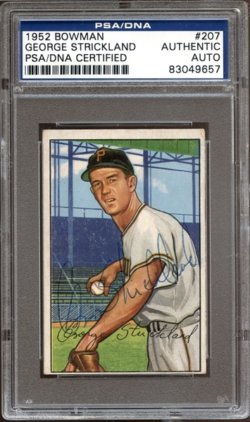 1952 Bowman #207 George Strickland Autographed PSA/DNA AUTHENTIC