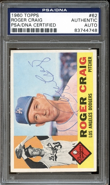 1960 Topps #62 Roger Craig Autographed PSA/DNA AUTHENTIC