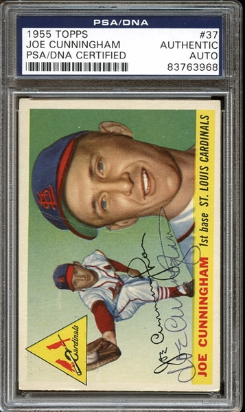 1955 Topps #37 Joe Cunningham Autographed PSA/DNA AUTHENTIC