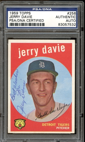 1959 Topps #256 Jerry Davie Autographed PSA/DNA AUTHENTIC