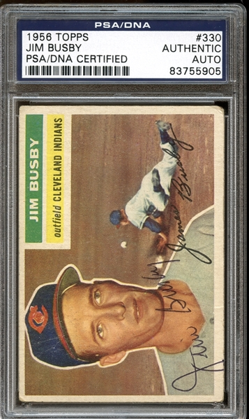 1956 Topps #330 Jim Busby Autographed PSA/DNA AUTHENTIC