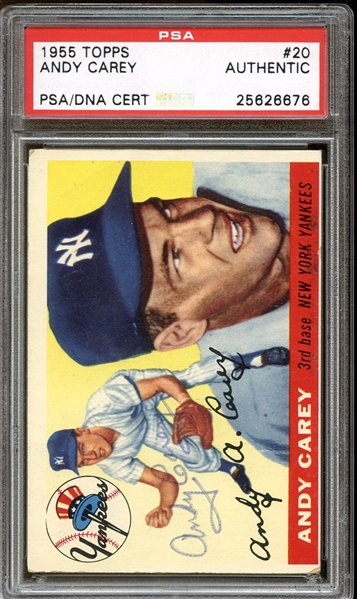 1955 Topps #20 Andy Carey Autographed PSA/DNA AUTHENTIC
