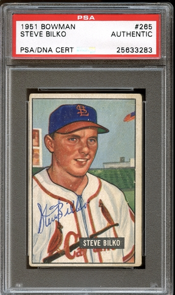 1951 Bowman #265 Steve Bilko Autographed PSA/DNA AUTHENTIC