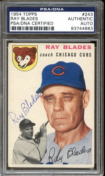 1954 Topps #243 Ray Blades Autographed PSA/DNA AUTHENTIC