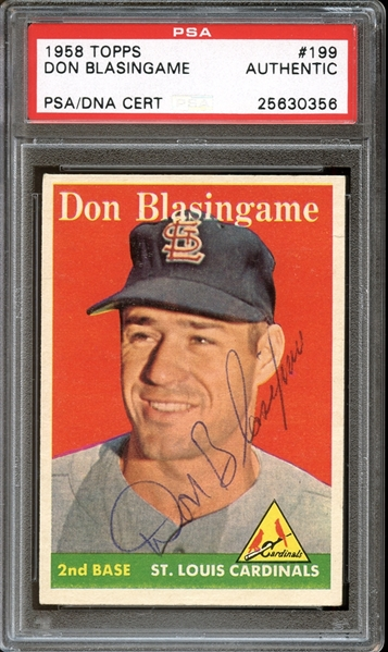 1958 Topps #199 Don Blasingame Autographed PSA/DNA AUTHENTIC