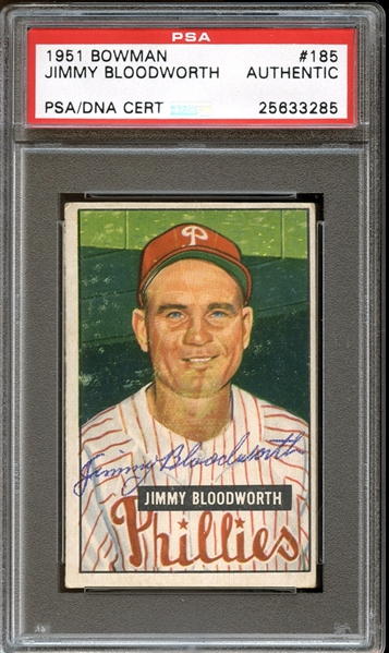 1951 Bowman #185 Jimmy Bloodworth Autographed PSA/DNA AUTHENTIC