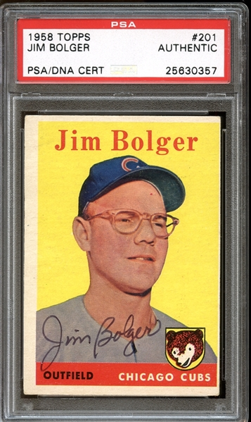 1958 Topps #201 Jim Bolger Autographed PSA/DNA AUTHENTIC
