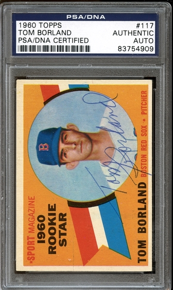 1960 Topps #117 Tom Borland Autographed PSA/DNA AUTHENTIC