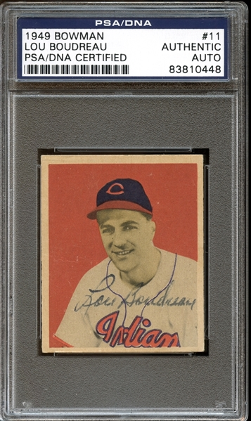1949 Bowman #11 Lou Boudreau Autographed PSA/DNA AUTHENTIC