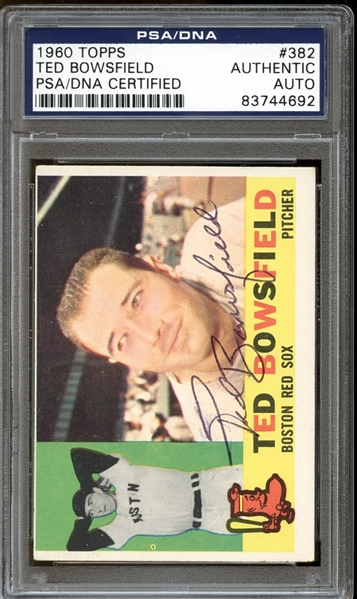1960 Topps #382 Ted Bowsfield Autographed PSA/DNA AUTHENTIC