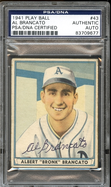 1941 Play Ball #43 Al Brancato Autographed PSA/DNA AUTHENTIC