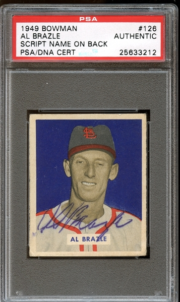 1949 Bowman #126 Al Brazle Autographed PSA/DNA AUTHENTIC