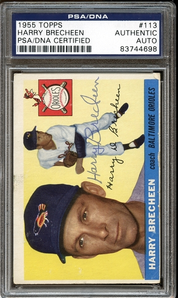 1955 Topps #113 Harry Brecheen Autographed PSA/DNA AUTHENTIC