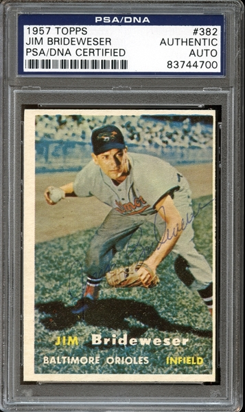 1957 Topps #382 Jim Brideweser Autographed PSA/DNA AUTHENTIC