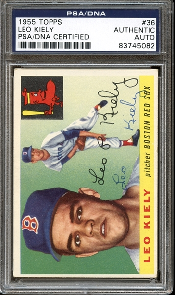 1955 Topps #36 Leo Kiely Autographed PSA/DNA AUTHENTIC