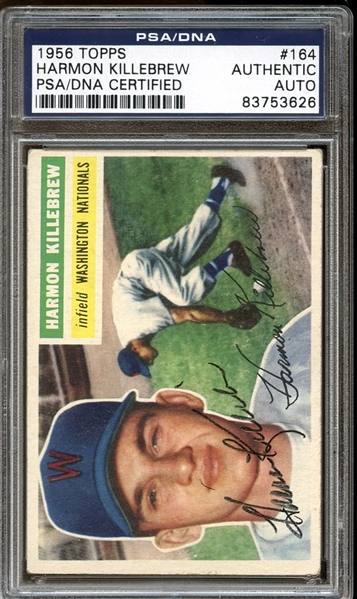 1956 Topps #164 Harmon Killebrew Autographed PSA/DNA AUTHENTIC