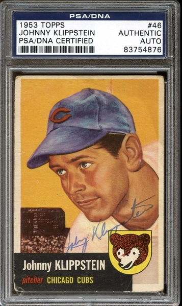 1953 Topps #46 Johnny Klippstein Autographed PSA/DNA AUTHENTIC
