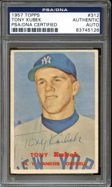 1957 Topps #312 Tony Kubek Autographed PSA/DNA AUTHENTIC