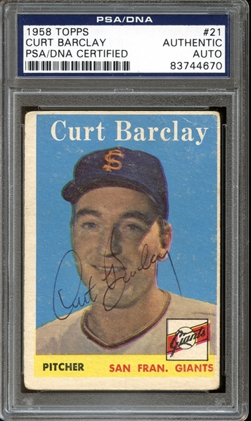 1958 Topps #21 Curt Barclay Autographed PSA/DNA AUTHENTIC