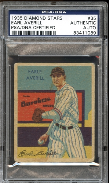 1935 Diamond Stars #35 Earl Averill Autographed PSA/DNA AUTHENTIC