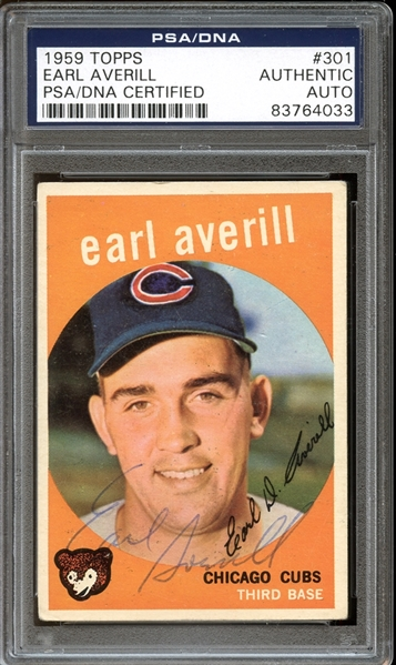 1959 Topps #301 Earl Averill Autographed PSA/DNA AUTHENTIC