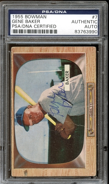 1955 Bowman #7 Gene Baker Autographed PSA/DNA AUTHENTIC