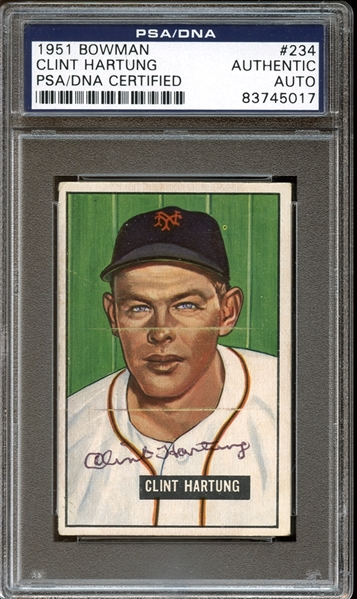 1951 Bowman #234 Clint Hartung Autographed PSA/DNA AUTHENTIC