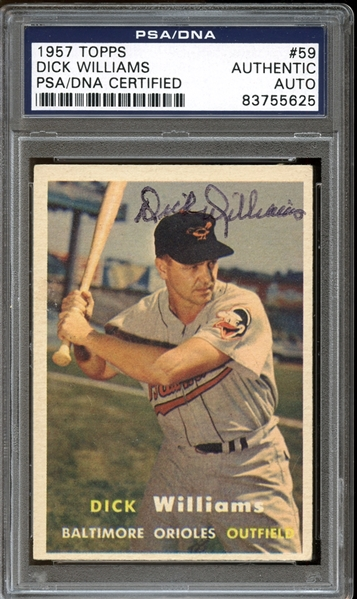 1957 Topps #59 Dick Williams Autographed PSA/DNA AUTHENTIC