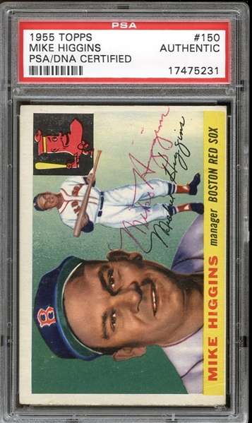 1955 Topps #150 Mike Higgins Autographed PSA/DNA AUTHENTIC