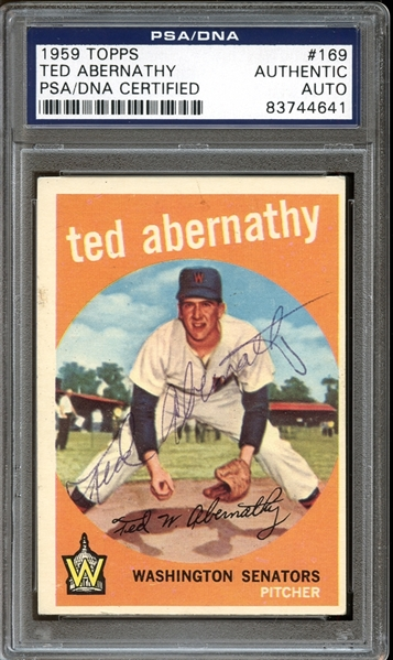 1959 Topps #169 Ted Abernathy Autographed PSA/DNA AUTHENTIC