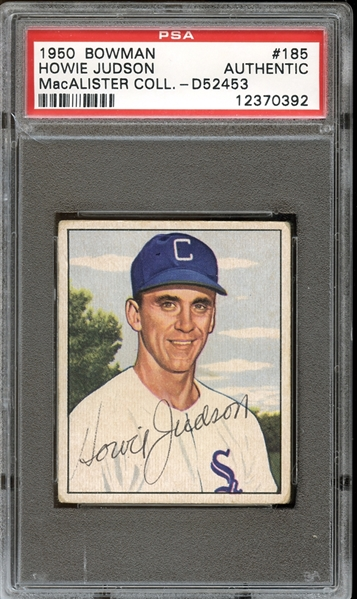 1950 Bowman #185 Howie Judson Autographed PSA/DNA AUTHENTIC