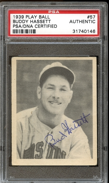 1939 Play Ball #57 Buddy Hassett Autographed PSA/DNA AUTHENTIC