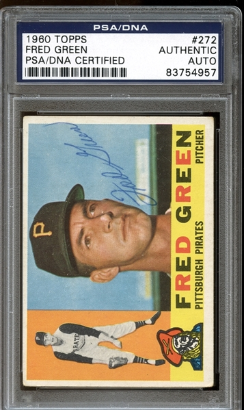 1960 Topps #272 Fred Green Autographed PSA/DNA AUTHENTIC