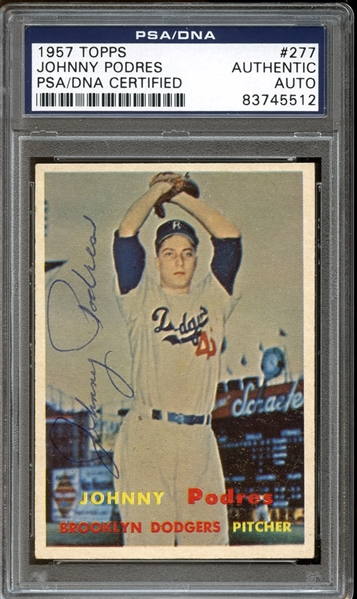 1957 Topps #277 Johnny Podres Autographed PSA/DNA AUTHENTIC