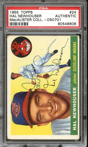 1955 Topps #24 Hal Newhouser Autographed PSA/DNA AUTHENTIC
