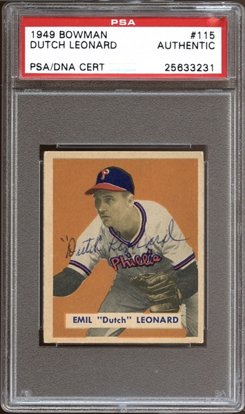1949 Bowman #115 Dutch Leonard Autographed PSA/DNA AUTHENTIC