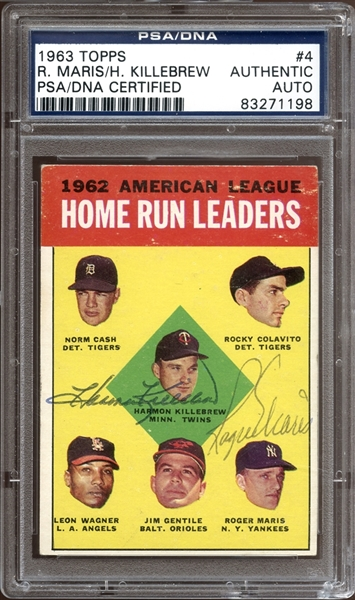 1963 Topps #4 Roger Maris/Harmon Killebrew Autographed PSA/DNA AUTHENTIC