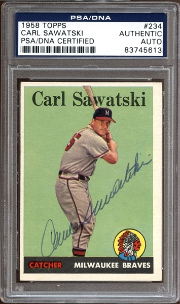 1958 Topps #234 Carl Sawatski Autographed PSA/DNA AUTHENTIC