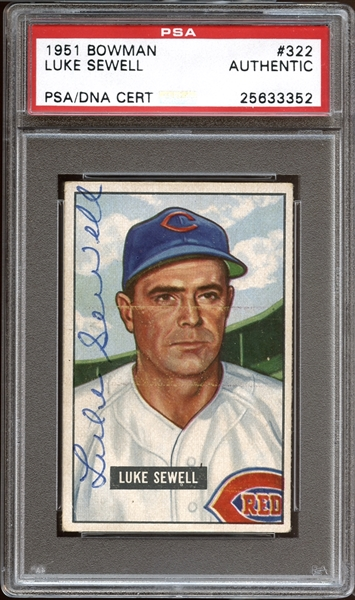 1951 Bowman #322 Luke Sewell Autographed PSA/DNA AUTHENTIC