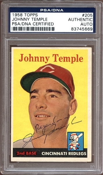 1958 Topps #205 Johnny Temple Autographed PSA/DNA AUTHENTIC