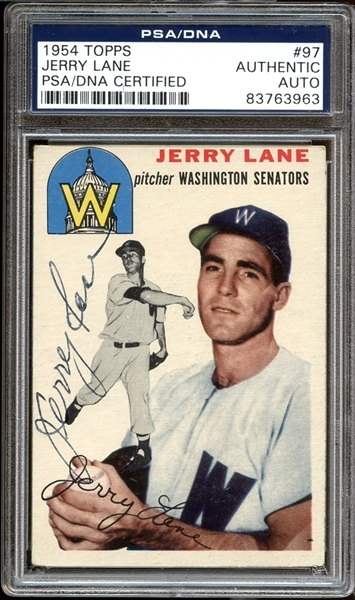 1954 Topps #97 Jerry Lane Autographed PSA/DNA AUTHENTIC