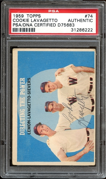 1959 Topps #74 Cookie Lavagetto Autographed PSA/DNA AUTHENTIC