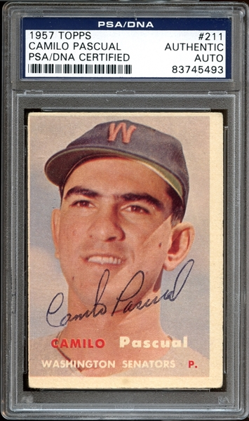 1957 Topps #211 Camilo Pascual Autographed PSA/DNA AUTHENTIC