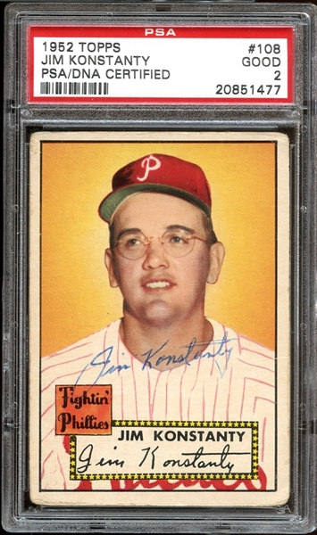 1952 Topps #108 Jim Konstanty Autographed PSA/DNA AUTHENTIC