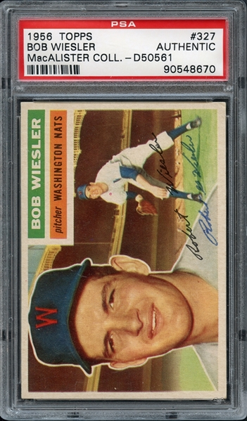 1956 Topps #327 Bob Wiesler PSA/DNA AUTHENTIC