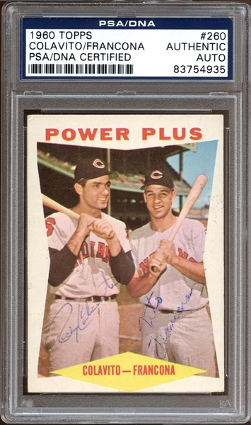 1960 Topps #260 Rocky Colavito/Terry Francona Autographed PSA/DNA AUTHENTIC